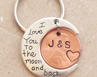 Valentines gift. THE ORIGINAL I Love You To The Moon And Back Keychain, stamped pennies,ANNIVERSARY gift for husband , wife,  moon keychain,