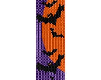 Bats Halloween, Peyote Bead Pattern, Bracelet Cuff, Bookmark, Seed Beading Pattern Miyuki Delica Size 11 Beads - PDF Instant Download