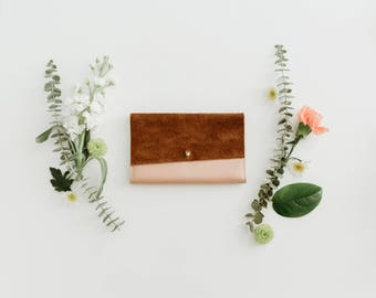 Leather iPhone Wallet - The Veda - Rose Gold & Moccasin Tan