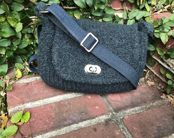 Hand knitted and felted crossbody small messenger bag