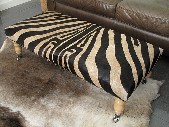 Extra Large Brown Zebra Cowhide Footstool 118. Choice of legs.