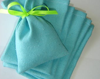 6 silk TURQUOISE jewelry bag ¤ made in France