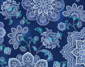 Dutchess Medallions Blue Timeless Treasures Fabric