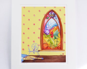 "SLEEPING BEAUTY ""a royal nap"" faerie tale feet limited edition art print signed and numbered princess art stained glass dragon fairy"