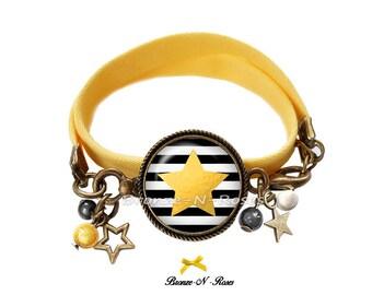 Bracelet yellow background star stripes cabochon bronze glass