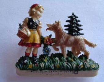 Vintage Fabulous Ges Gesch Plastic Red Riding Hood and Big Bad Wolf   Brooch/Pin