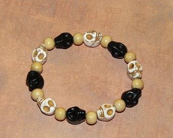 Yin Yang (Black And White) Skull Gothic Bracelet