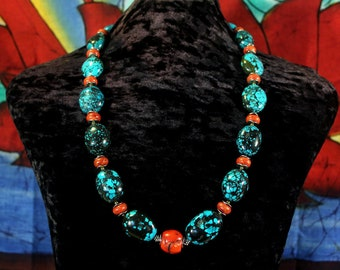 Turquoise Statement Necklace, Chunky Turquoise Necklace, Turquoise Nugget Necklace, Turquoise and Coral Necklace, Natural Turquoise