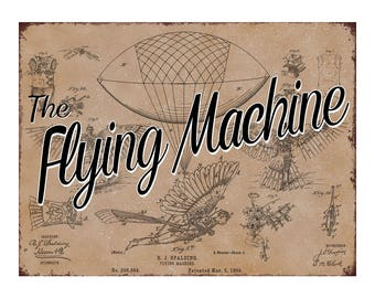 The Flying Machine Patent Metal Sign for decorating, aviation, early attempt at flight