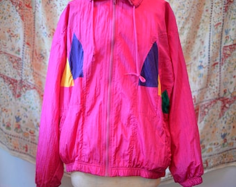 Vintage 90s Pink Blue and Yellow Windbreaker