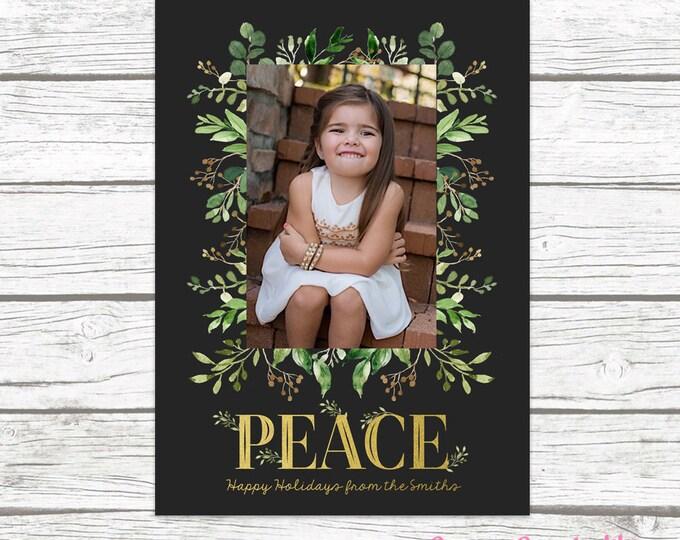 Christmas Photo Card, Leaves Christmas Photo Card, Floral Christmas Card, Peace Holiday Card, Gold Christmas Card, Greenery Christmas Card