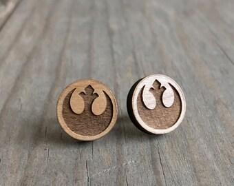 Star Wars Rebel Alliance Wood Stud Earrings Rogue Squadron