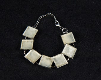 Hand Painted-one of a kind- Chain Bracelet-Silver-Square Bezel