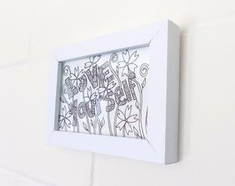 Love Yourself, Flowers Ink Drawing Postcard , Original Artwork