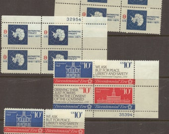 US United States Antarctic Treaty Stamps MUH 1971 Blocks of 4 and 1976 Bicentennial Era MUH Blocks of 4  Mint Unhinged Stamps