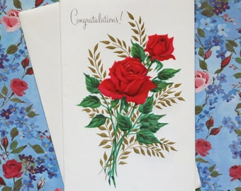 Vintage Sunshine All-Occasion Greeting Card - CONGRATULATIONS! - Red ROSES - unused - 1950s