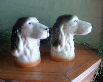 Vintage Dog Head Salt and Pepper Shakers   (T)