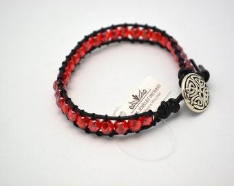 Handmade Leather Bracelet of Red & Black - Great for Badger Fans! Woven Bracelet w/ Button Clasp. Red and Black School Colors Bracelet.