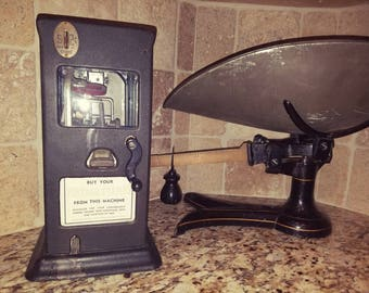 Early 20th Century Coin Operated Postage Stamp Machine Working 2 Cent Stamps Industrial