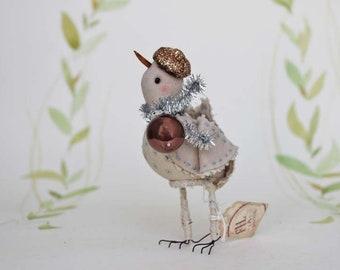 Fête oiseaux en feutre avec mini verre et paillettes