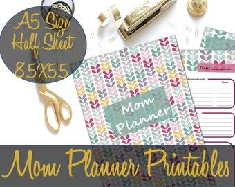 Mom Planner, Mom Organizer, Mom Calendar, To Do Lists, Mom Planning Printables A5 Size Half Sheet - INSTANT DOWNLOAD