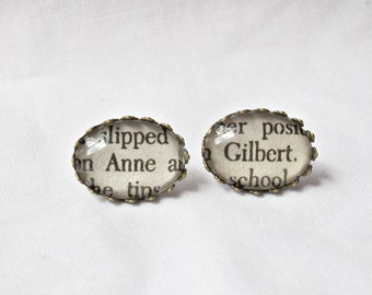 Anne of Green Gables Earrings Ear Studs - Anne Shirley Gilbert Blythe LM Montgomery Bookworm Gift - Literary Bookish Jewelry For Women