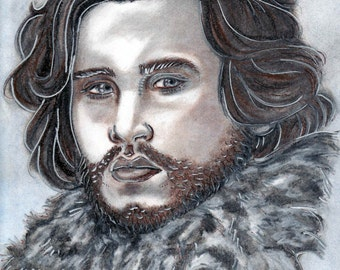Original Color Portrait of Jon Snow from HBOs Game of Thrones actor Kit Harington