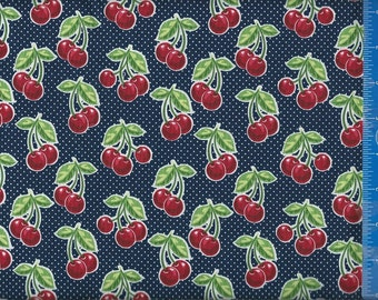 Cherries (Black Polka Dot) Fabric, Quilt or Craft Cotton Fabric