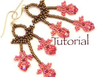 Seed Bead Earrings Orchid Filigree Tutorial Instant Digital Download