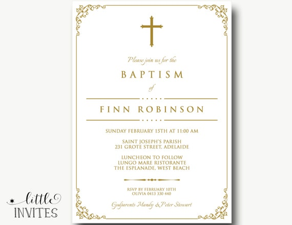 Unisex Baptism InvitationGirls Baptism InvitationBoys