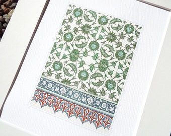 Green & Cream with Red Trim Antique Moorish Tile Pattern Archival Quality Print