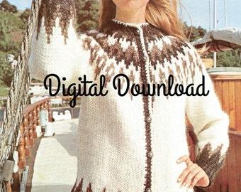 Icelandic Women's Sweater Pattern, Vintage Cardigan Pattern, Nordic Sweater, PDF Instant, Digital Download