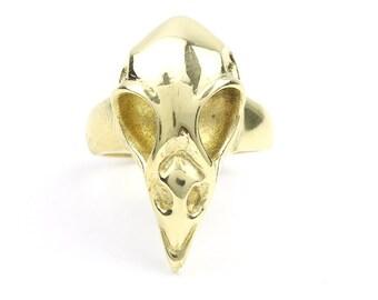 Brass Bird Skull Ring, Raven Skull, Large Skull Ring, Gothic, Bones, Animal Skull