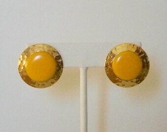 Bright Shiny Round Hammered Gold Tone Yellow Enamel Pierced Earrings