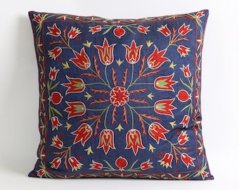 Navy blue suzani pillow cover 18x18 inch