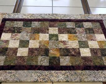 Quilted Batik Table Runner creams browns earth tones