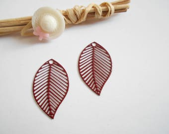 set of 2 prints dark red leaves