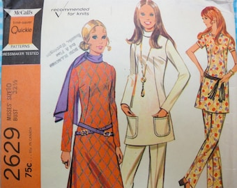 Vintage 1970 McCalls Sewing Pattern 2629 Slim Tunic Top, Pants, Misses 10, Bust 32.5