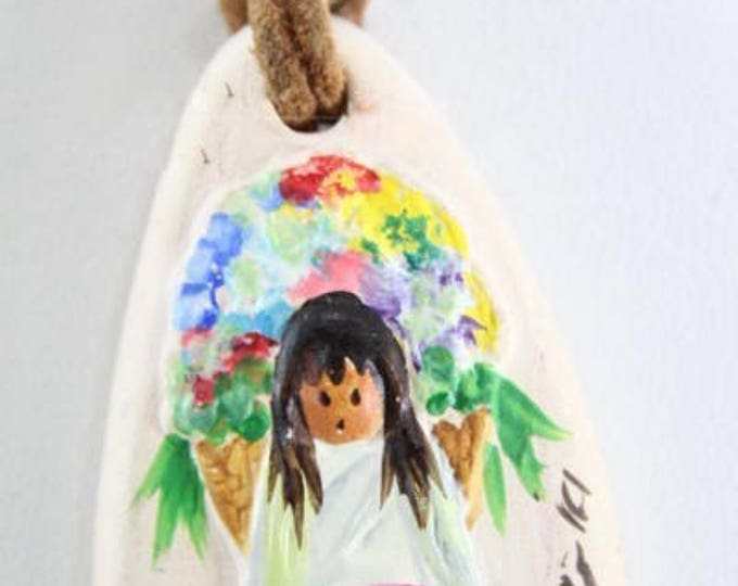 De'Grazia Signed Clay Pendant Necklece of Girl with Flowers, on a 20 inch leather strand with clasp, with Reduced Shipping