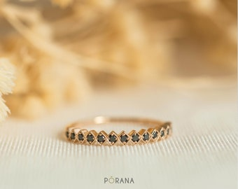 WEAVE | Black Diamond Band ring in 14K solid gold, stacking ring