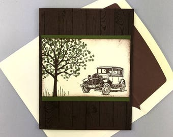 Hand Stamped Father's Day - Card for Dad - Card for Grandfather - Greeting Card - Handmade Card - Antique Car by a Tree - To A Classic Dad
