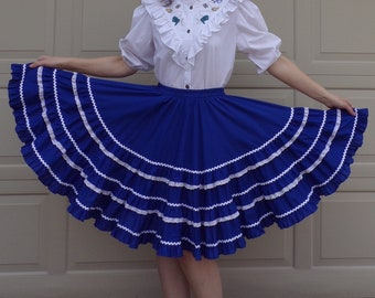 western rockabilly TIERED CIRCLE SKIRT blue white S M (A9)