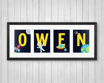 Astronaut Print - Personalized Name Print - Boy's Room Decor - Astronaut Nursery - Outer Space Decor - Rocket Print - 4x6, 5x7, 8x10