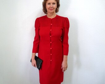 Red dress I. Magnin 80s Wool Button Front Long Sleeve M/L