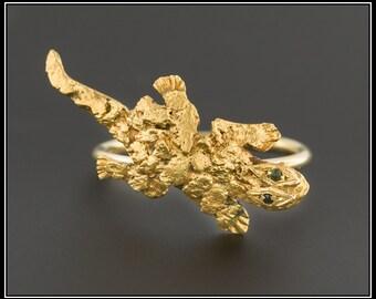 Vintage Lizard Ring   24k Gold Flake Lizard Ring   Vintage 10k Gold Ring   10k Gold Lizard Ring   Vintage Ring
