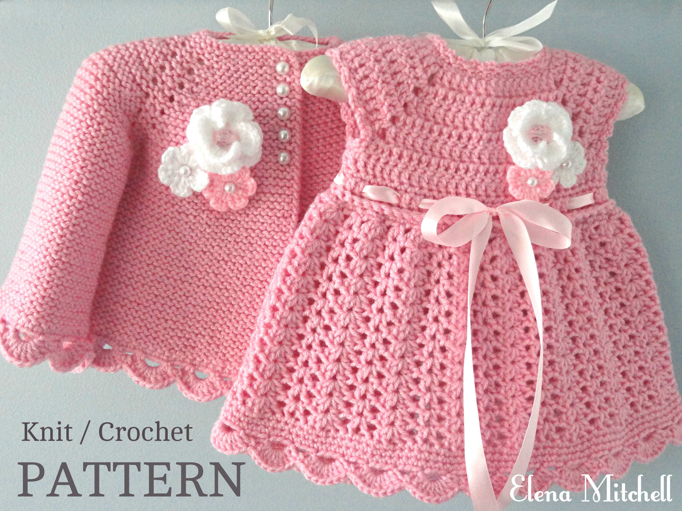 Knitting PATTERN Baby Jacket Crochet PATTERN Baby Dress Baby ...