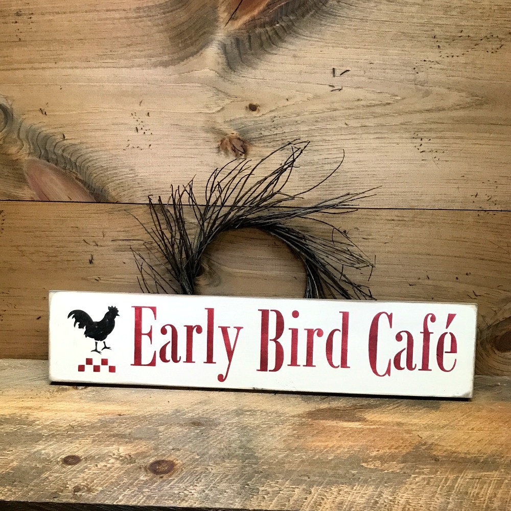 Wooden Sign Rustic Kitchen Decor Early Bird Cafe Rooster