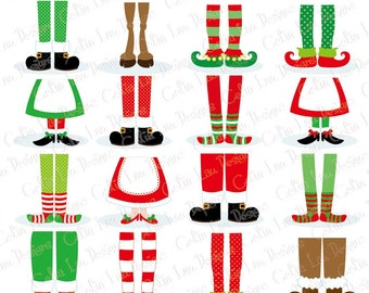 Christmas Feet , Christmas Digital Clip art, Christmas Pajamas