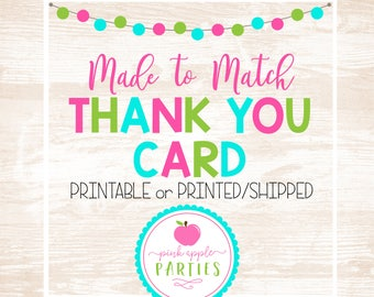 Made to Match - Thank You Card, Printable OR Printed/Shipped