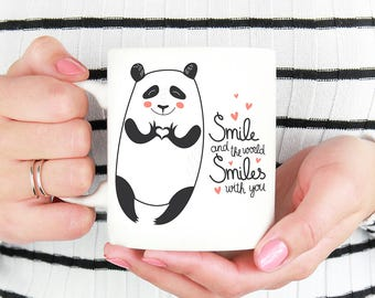 Panda Bear Coffee Mug - Smile and the World Smiles With You Panda Bear with Heart Hands Mug